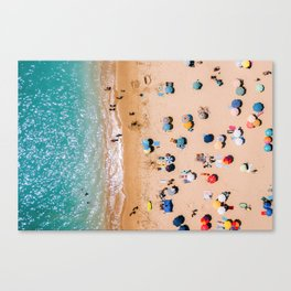 People On Algarve Beach In Portugal, Drone Photography, Aerial Photo, Ocean Wall Art Print Canvas Print