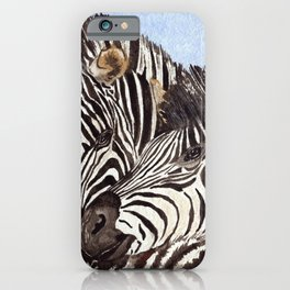 Zebra Cuddles iPhone Case