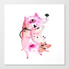 Three and Free Little Pigs Canvas Print