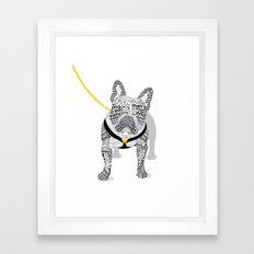 Typographic French Bulldog - Black and White Framed Art Print