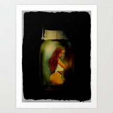 Lost Without You  (Lady In A Jar) Grunge  Art Print