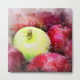 The Odd One Out - Red and Yellow Apples Still Life Watercolor Metal Print