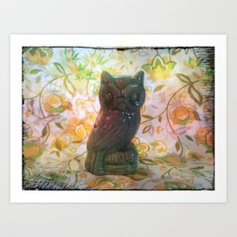 Owl with yellow floral background Art Print