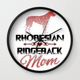 Rhodesian Ridgeback Mom Art Print, Mosaic Dog Silhouette, Dog Lover Gift Wall Clock