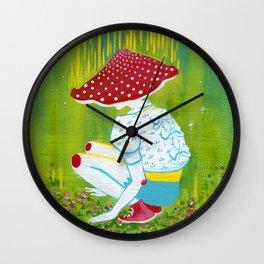 Amanita Mushroom Fairy Ring Wall Clock