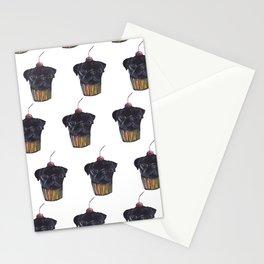 """Cherry on Pup"" Black Pug Cake Pattern Stationery Cards"