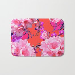 Delicate White & Pink Flower Blossoms Coral Art Bath Mat