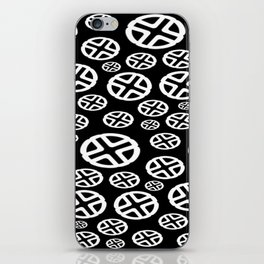 Scattered Circles - Black and White Pattern of Circles and Crosses iPhone Skin