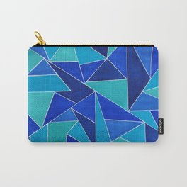 The Blues - Abstract Blue Triangle Pattern Carry-All Pouch