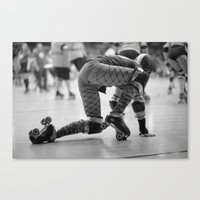 roller derby Canvas Prints featuring Roller Derby  by Ann Yoo