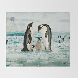 Emperor Penguin Family Throw Blanket