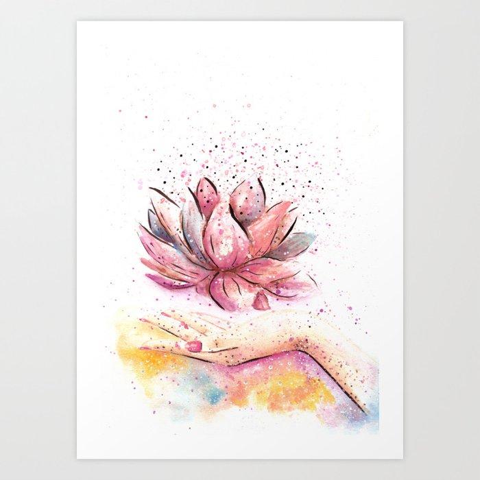 Lotus Flower Watercolor Art Art Print By Aquarellesdemariastore