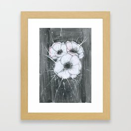 Anemone Flowers illustration gray neutral colors decor Framed Art Print