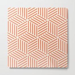 Geometric Pattern Coral Metal Print