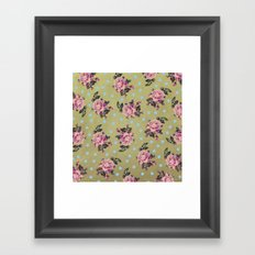 Pink Roses & Blue Dots Framed Art Print
