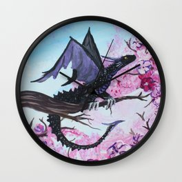 Baby Black Dragon in Cherry Tree Wall Clock