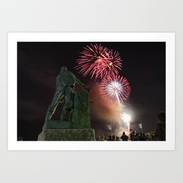 Fourth of July Fireworks in Gloucester Art Print