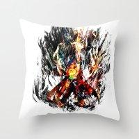gurren lagann Throw Pillows featuring  Kamina by ururuty