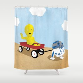 SW Kids - C3PO & R2D2 Red Wagon Shower Curtain