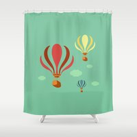 hot air balloon Shower Curtains featuring Hot Air Balloon Ride by Irene Chan