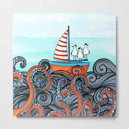 Seagull and little boat Metal Print