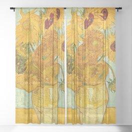 Vincent Van Gogh Sunflowers Vintage Painting Sheer Curtain