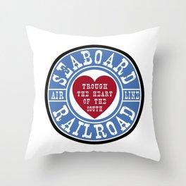 Seaboard Railroad Blue Throw Pillow