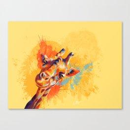 Hello - giraffe portrait, cute and funny animal illustration Canvas Print