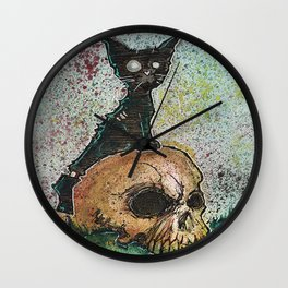 Black Cat with a Skull Wall Clock