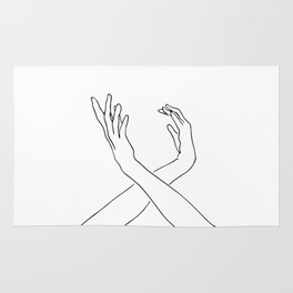 Dancing minimal line drawing Rug