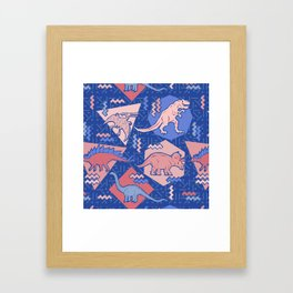 Nineties Dinosaurs Pattern  - Rose Quartz and Serenity version Framed Art Print