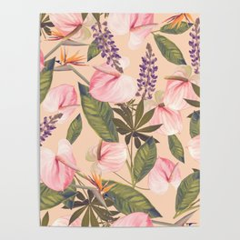 seamless  pattern with  flowers and leaves. Endless texture Poster
