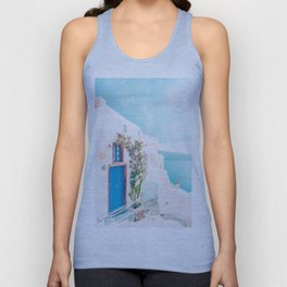 Santorini Greece Cozy blush travel photography in hd. Unisex Tank Top