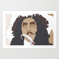 captain hook Art Prints featuring HOOK by Itxaso Beistegui Illustrations