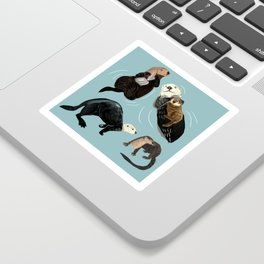 Otters of the World pattern in grey Sticker