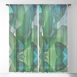 Palm leaf jungle Bali banana palm frond greens Sheer Curtain