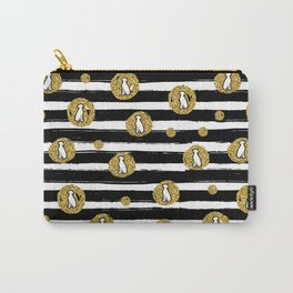 GOLD GLITTER WEIMS AND BLACK STRIPES Carry-All Pouch