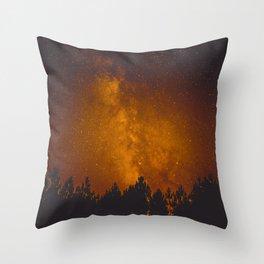 Vintage Sepia Milky Way Galaxy Star Night Sky Tree Silhouette Throw Pillow