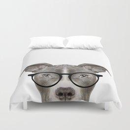 Pit bull with glasses Dog illustration original painting print Duvet Cover
