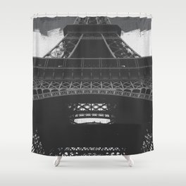 Eiffel Tower Paris France in Black and White Shower Curtain