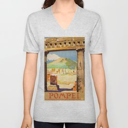 Vintage Pompei Italy Travel Unisex V-Neck