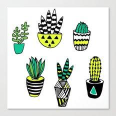 Cactus neon modern Canvas Print