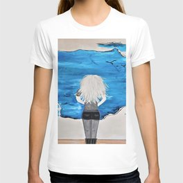Blue Sky and the Future Painting by Jodi Tomer. Blonde Girl Portrait T-shirt