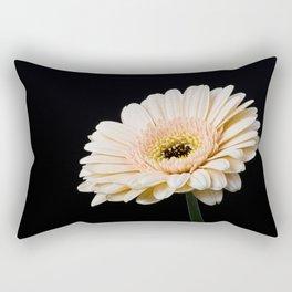 Peach Gerbera Daisy On Black Rectangular Pillow