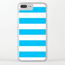 Blue bolt - solid color - white stripes pattern Clear iPhone Case