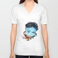 hindu V-neck T-shirts featuring Hindu Boy by Cristian Blanxer