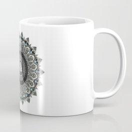 Black and White Flower Mandala with Blue Jewels Coffee Mug