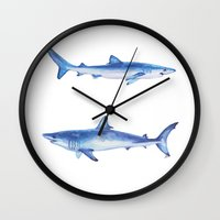 sharks Wall Clocks featuring Sharks by Alina Bachmann