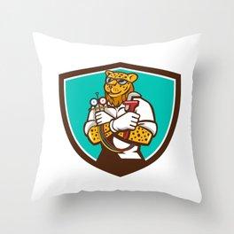 Leopard Heating Specialist Mechanic Shield Cartoon Throw Pillow