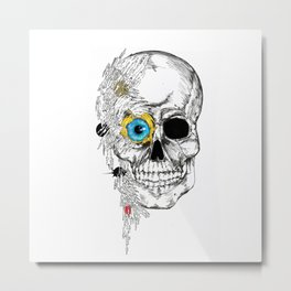 futuristic skull Metal Print